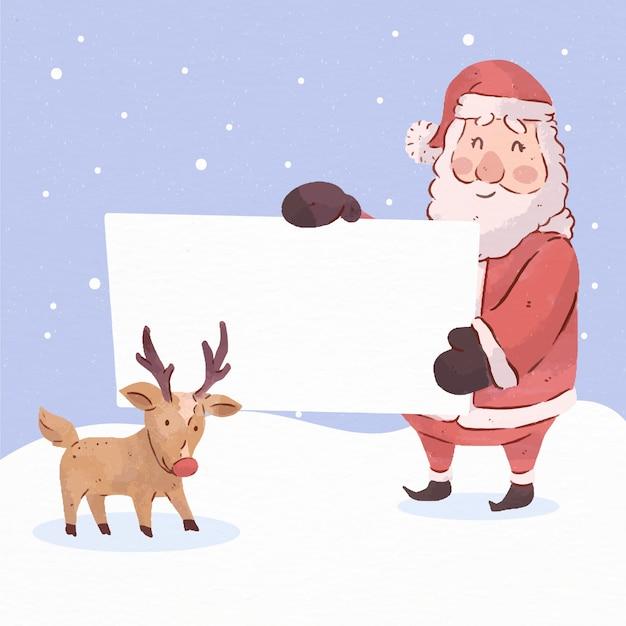 Personnage De Noël Tenant Une Bannière Vierge Vecteur gratuit