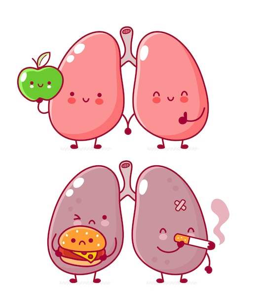 Personnage D'organe De Poumons Humains Avec Hamburger Et Cigarette Vecteur Premium