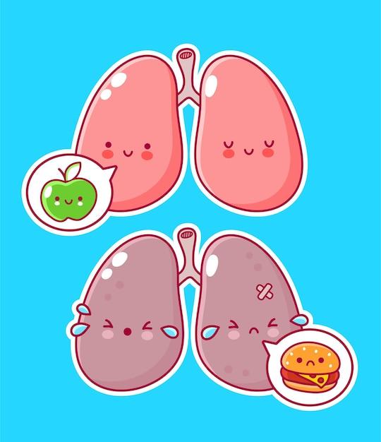 Personnage D'organe De Poumons Humains Avec Pomme Et Hamburger Dans La Bulle De Dialogue Vecteur Premium