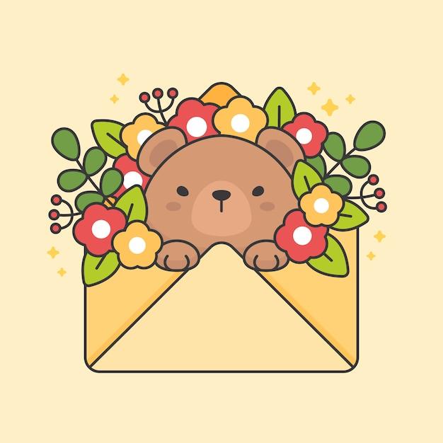Personnage d'ours mignon dans une enveloppe avec des fleurs et des feuilles Vecteur Premium