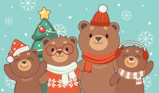 Le personnage de l'ours mignon et de la famille se tenant et tenant la main sur le bleu. Vecteur Premium
