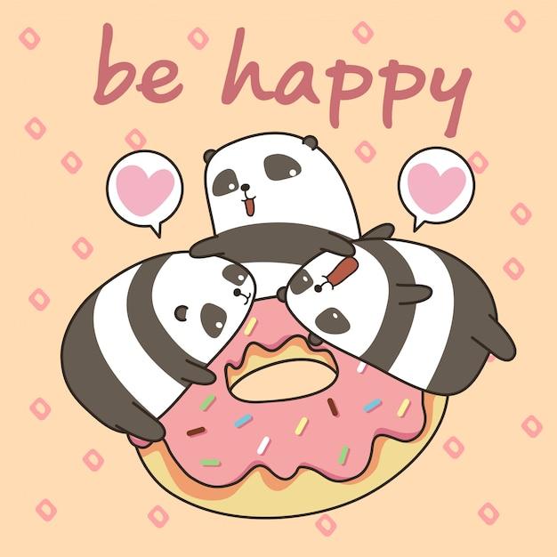 Personnage de pandas kawaii avec beignet rose. soyez heureux Vecteur Premium