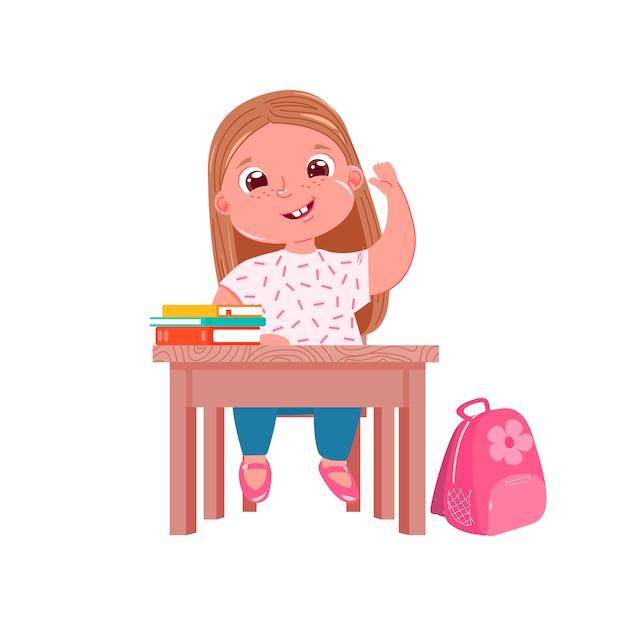 Un personnage de petite fille mignonne au bureau de la leçon Vecteur gratuit