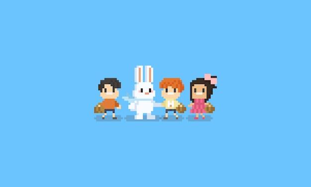Personnage Pixel Enfants Avec Character8bit De Lapin De