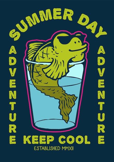 Un personnage de poisson nageant dans le verre d'eau avec des lunettes de soleil et profiter de la journée d'été en illustration vectorielle rétro 80's Vecteur Premium