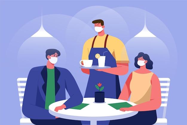 Personnage Portant Un Masque En Tissu Servant La Nourriture Vecteur gratuit