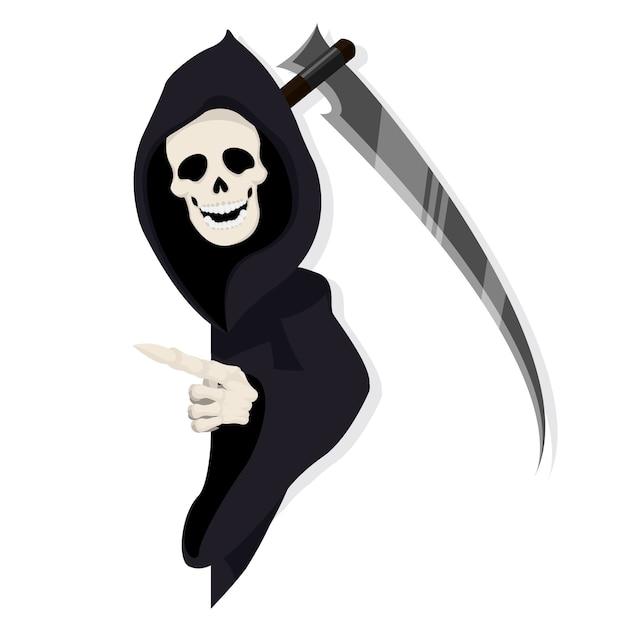 Personnage de reaper pointant derrière le papier Vecteur Premium