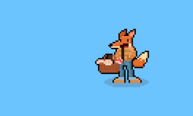 Personnage De Renard De Dessin Animé De Pixel Art Tenant