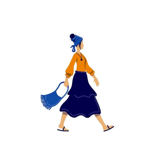 Personnage Sans Visage De Couleur Plate De Style Bohème Féminin Vecteur Premium