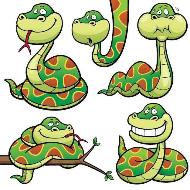 Personnage de serpent de dessin animé Vecteur Premium