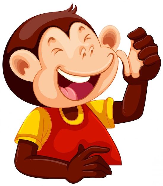 Un personnage de singe heureux Vecteur gratuit