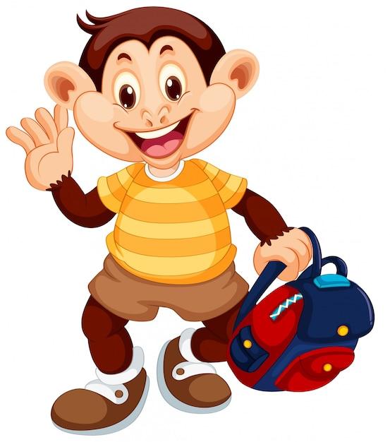 Un personnage de singe mignon Vecteur gratuit