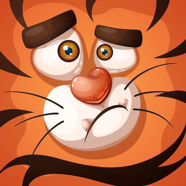 Personnage de tigre fou Vecteur Premium