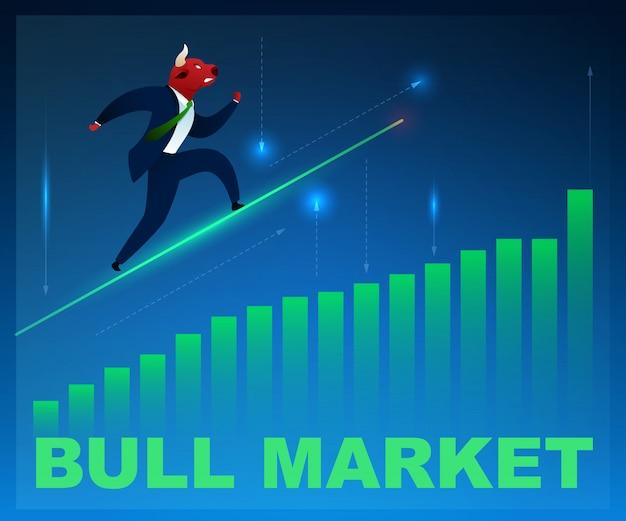 Personnage trader bull market sur le diagramme graphique Vecteur Premium