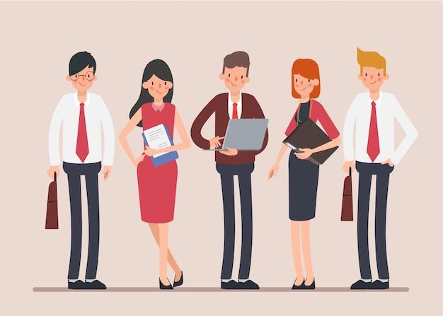 Personnage de travail d'équipe de gens d'affaires scène d'animation. Vecteur Premium