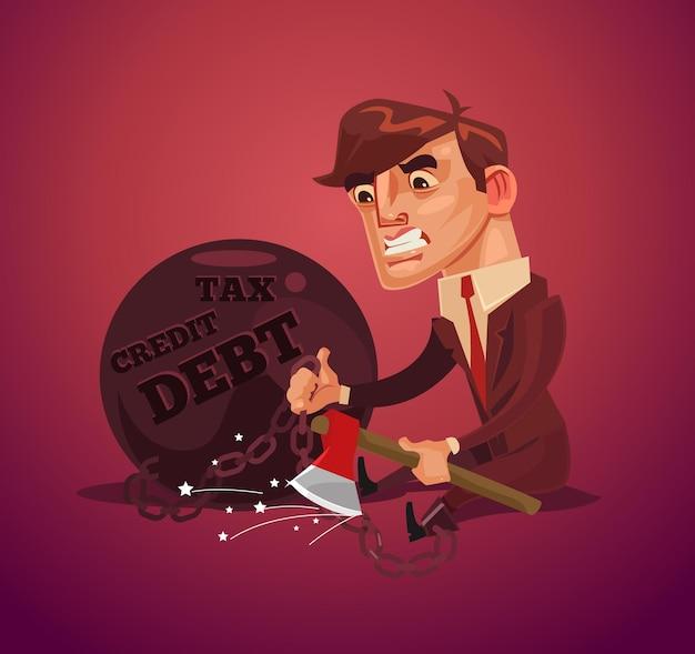Personnage De Travailleur De Bureau Triste Homme D'affaires Malheureux Essayant D'échapper à La Dette Avec Une Hache. Vecteur Premium