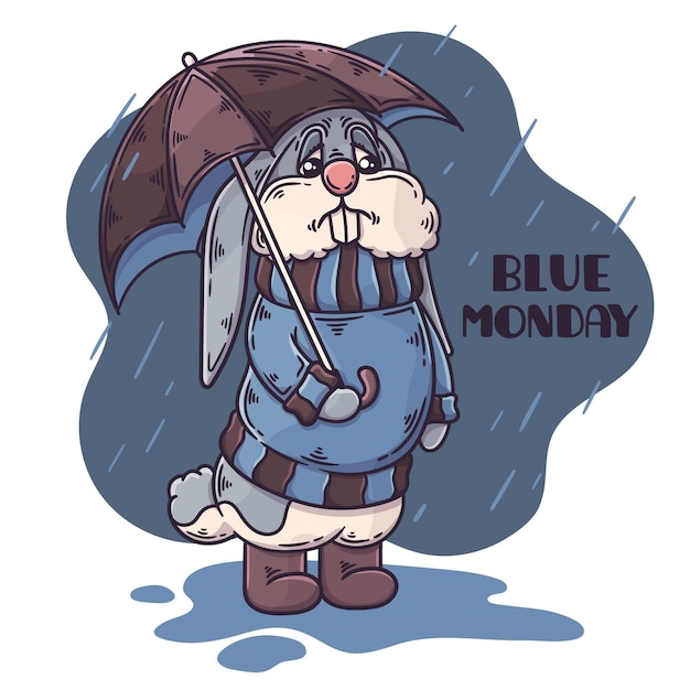 Personnage Triste Le Lundi Bleu Vecteur gratuit