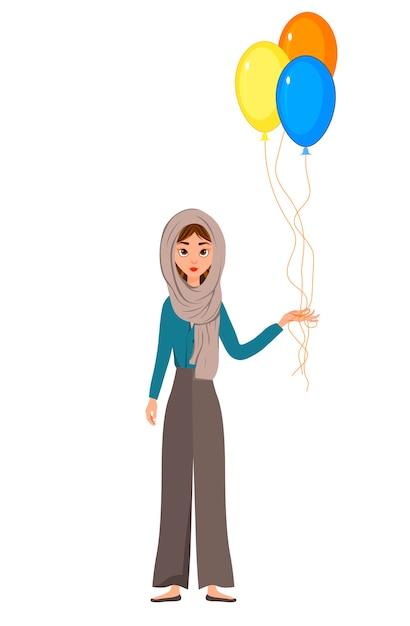 Personnage De Vacances Femme Dans Une écharpe Avec Des Ballons Sur Fond Blanc. Vecteur Premium