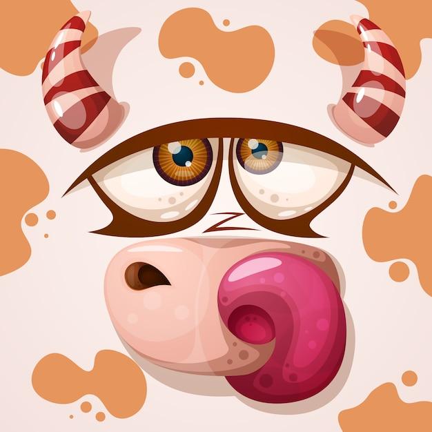 Personnage de vache mignon Vecteur Premium