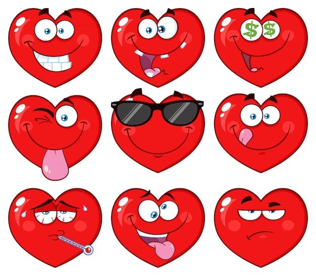 Personnage De Visage Emoji Dessin Anime Coeur Rouge Vecteur Premium