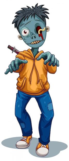 Un personnage zombie Vecteur gratuit