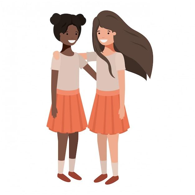Personnages amicaux d'ethnie filles adolescentes Vecteur Premium