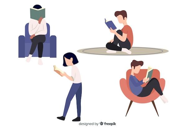 Personnages au design plat lisant dans différentes positions Vecteur gratuit