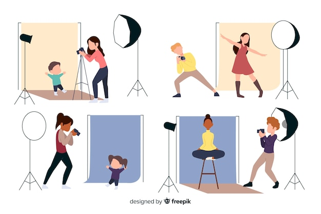 Personnages Au Design Plat Photographes Travaillant Vecteur gratuit