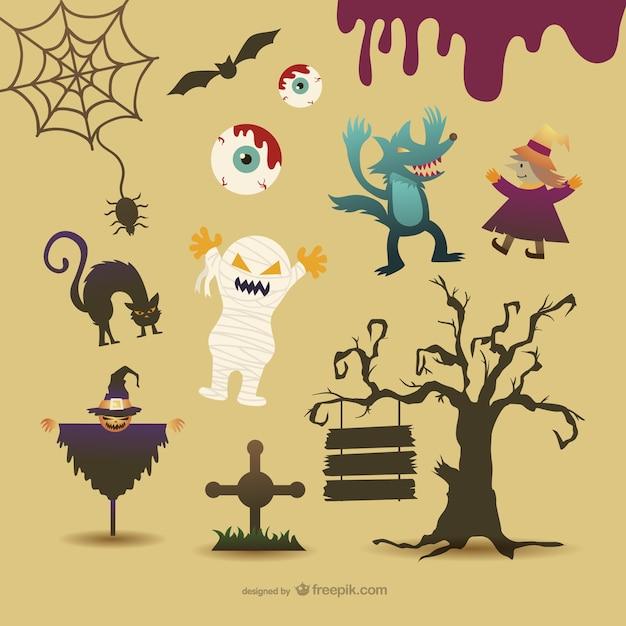 Personnages de bande dessinée de halloween Vecteur gratuit