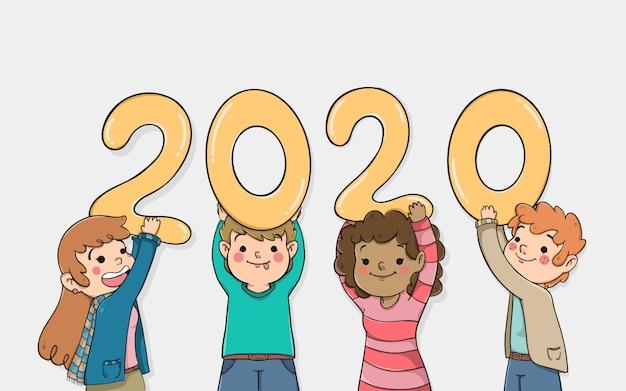 Personnages de bande dessinée tenant la nouvelle année 2020 Vecteur gratuit