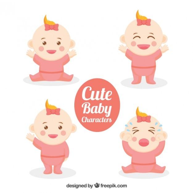Personnages de bébé belles belles Vecteur gratuit