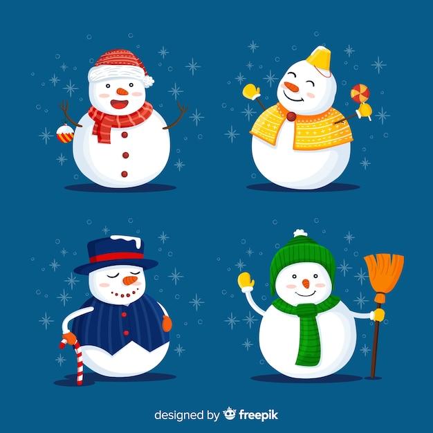 Personnages bonhomme de neige Vecteur gratuit
