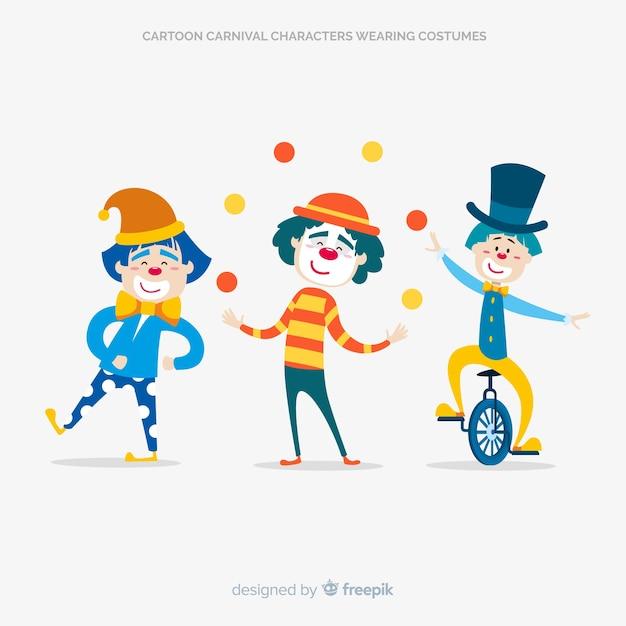 Personnages de carnaval cartooon en costumes Vecteur gratuit