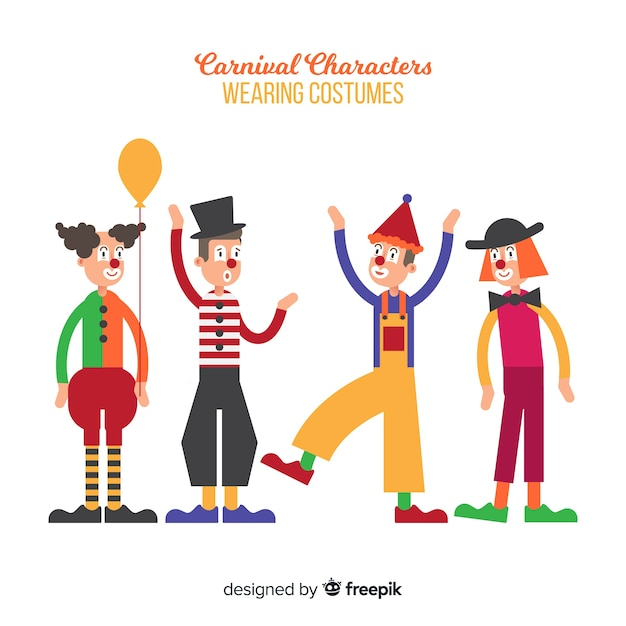 Personnages de carnaval en costumes Vecteur gratuit