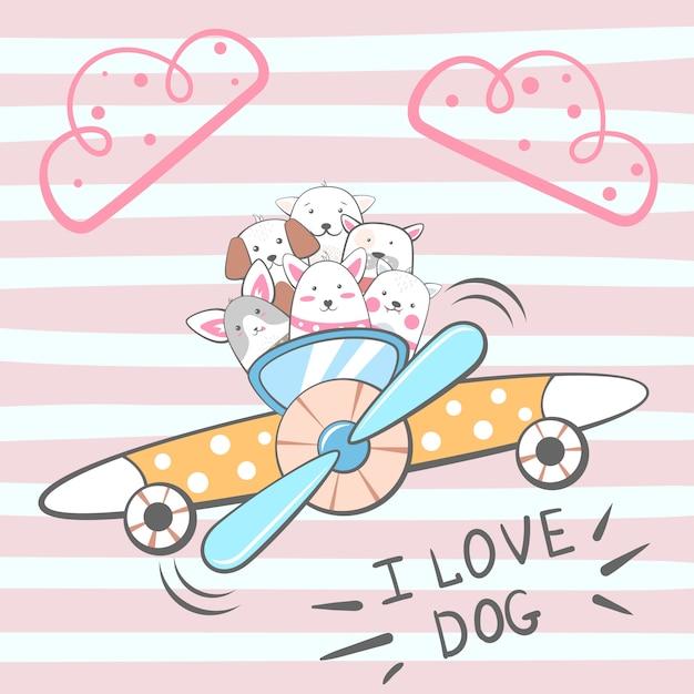Personnages de chiens de dessin animé. illustration de l'avion Vecteur Premium