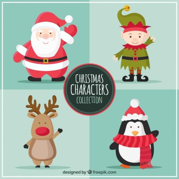 Personnages christmas collection Vecteur gratuit