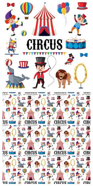 Personnages De Cirque Et Animaux Vecteur Premium