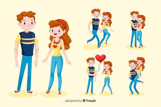 Personnages de couples 3d Vecteur gratuit