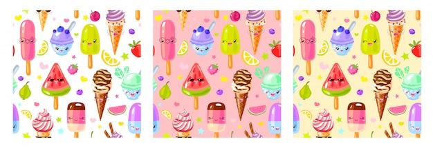 Personnages De Crème Glacée Aux Fruits Mignons Modèle Sans Couture. Style Enfant, Fraise, Framboise, Pastèque, Citron, Fond De Couleur Pastel Banane. Vecteur Premium