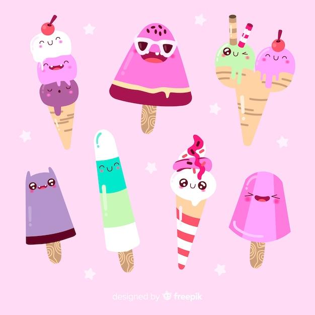 Personnages de la crème glacée kawaii Vecteur gratuit