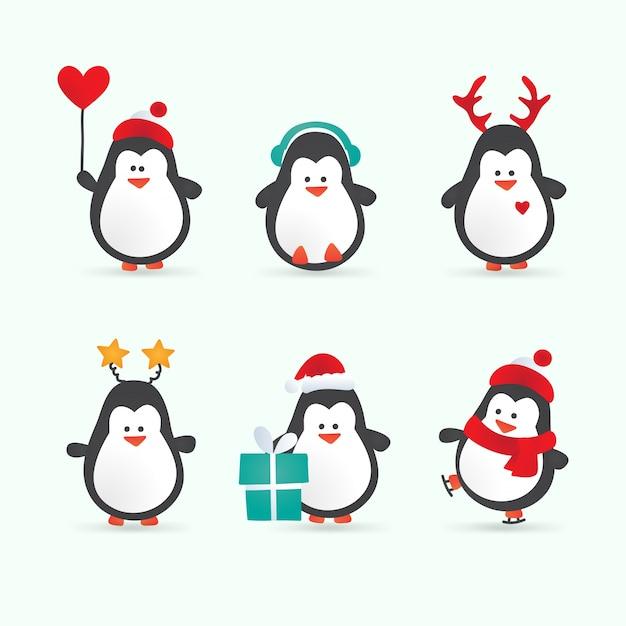 Personnages de pingouin de dessin anim de no l t l charger des vecteurs premium - Dessin anime les pingouins ...