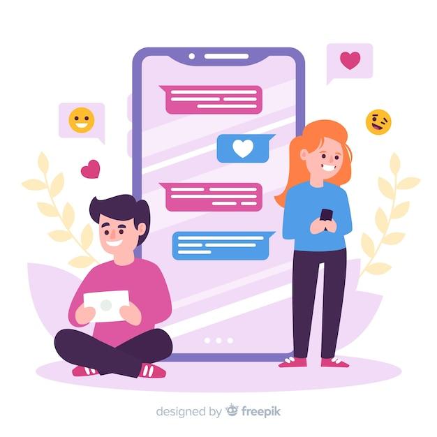 Personnages de design plat discutant sur l'application de rencontres Vecteur gratuit