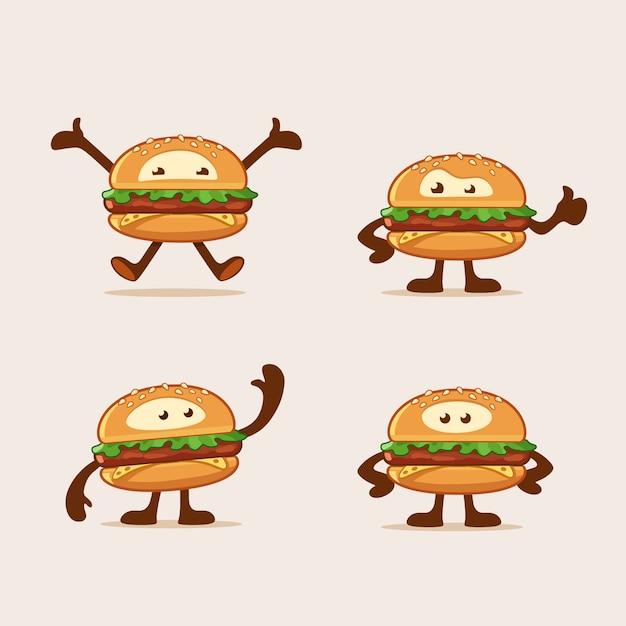 Personnages De Dessin Animé De Burger Sautant En Agitant Debout Et Montre Le Pouce Vers Le Haut Vecteur Premium