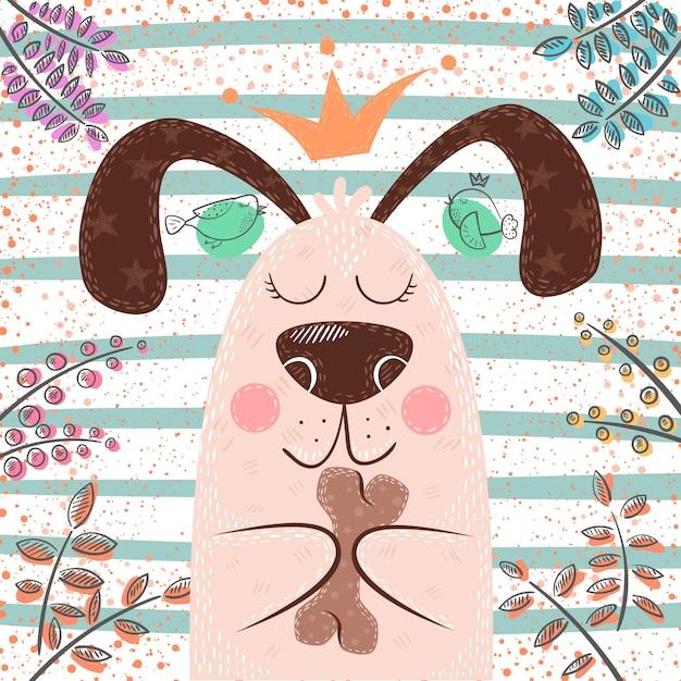 Personnages de dessin animé chien mignon princesse Vecteur Premium