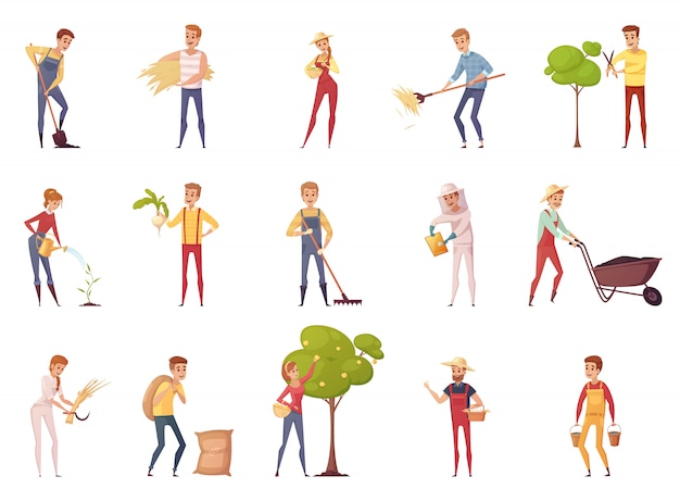 Personnages De Dessin Animé De Jardinier Paysan Agriculteur Vecteur gratuit