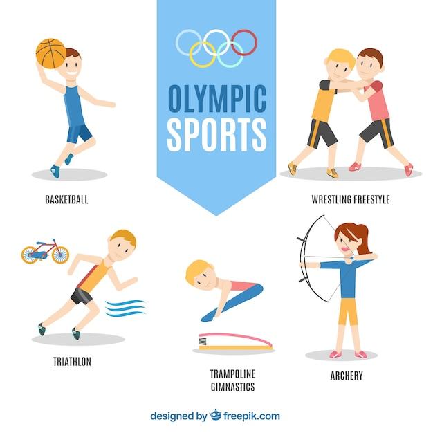 Personnages dessinés à la main dans les jeux olympiques Vecteur gratuit