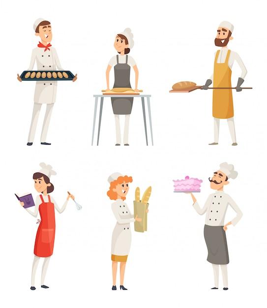 Personnages de dessins animés de boulangers au travail Vecteur Premium
