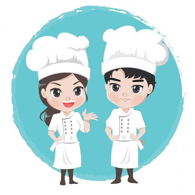 Personnages de dessins animés de chef garçon et fille stand post professionnel Vecteur Premium