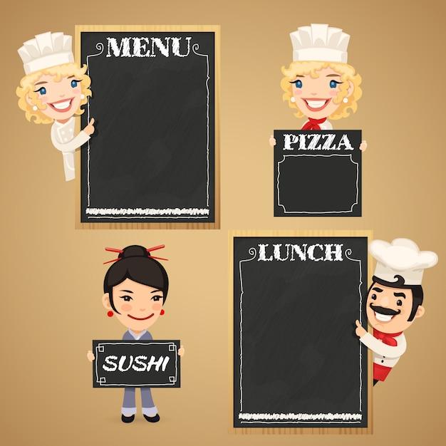 Personnages de dessins animés de chefs avec menu de tableau Vecteur Premium