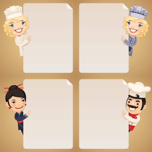 Personnages de dessins animés de chefs regardant ensemble d'affiche vierge Vecteur Premium